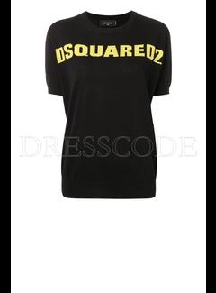 1. DSQUARED2 Dsquared2 gebreide top met logo in geel Zwart