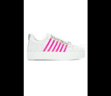 1. DSQUARED2 Dsquared2 sneaker met hoge zool en neon roze strepen Wit