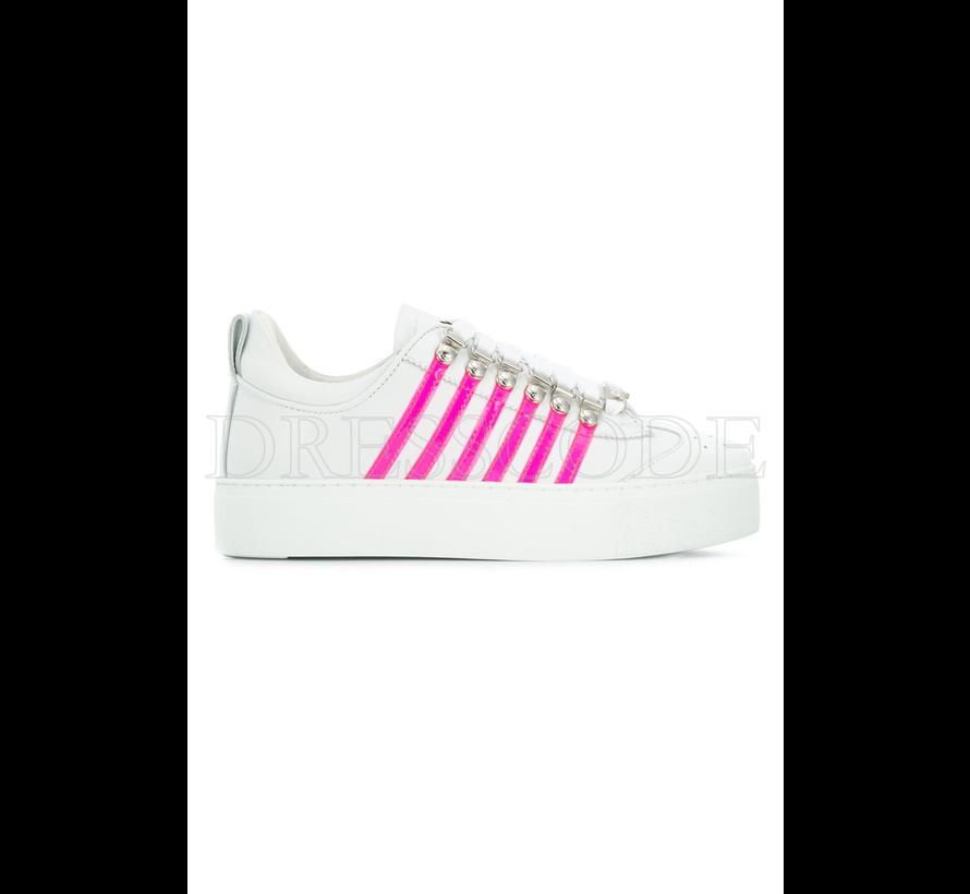Dsquared2 witte sneaker met hoge zool en neon roze strepen