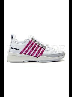 1. DSQUARED2 Dsquared2 sneaker met roze glitter strepen Wit