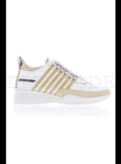 1. DSQUARED2 Dsquared sneaker met  gouden glitter strepen Wit