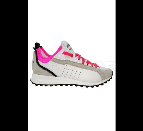 1. DSQUARED2 Dsquared2 witte sneaker met neon roze