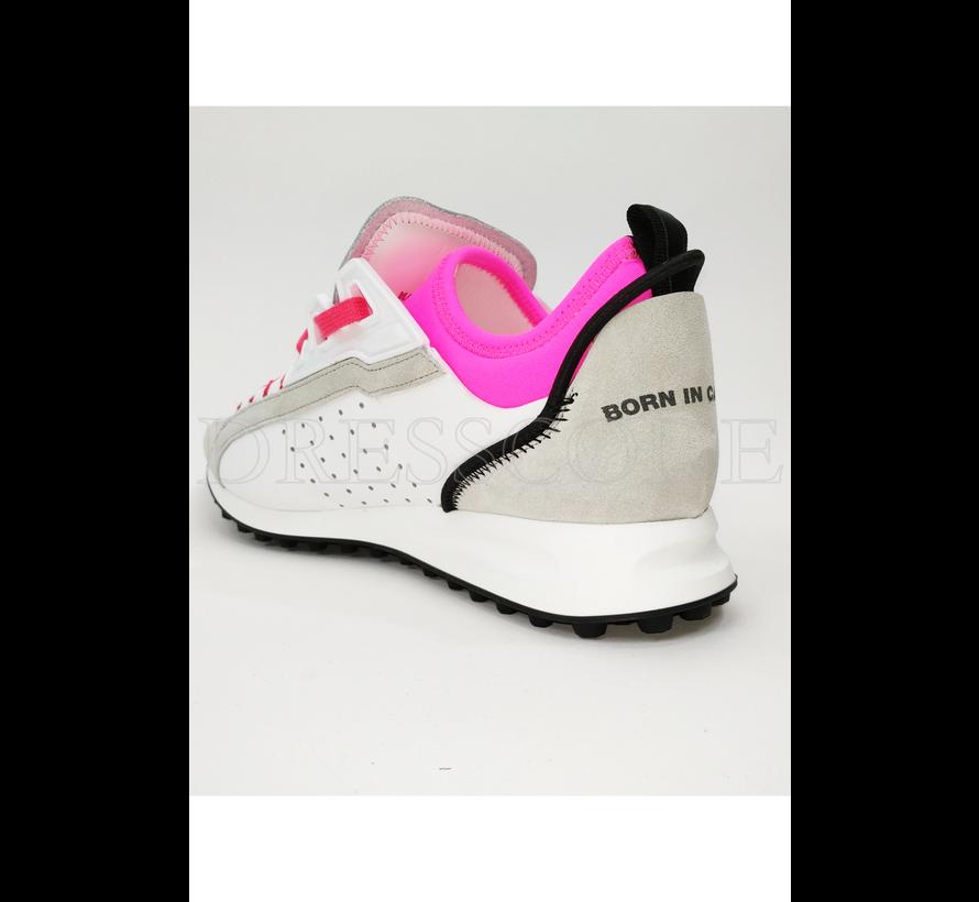 Dsquared2 witte sneaker met neon roze