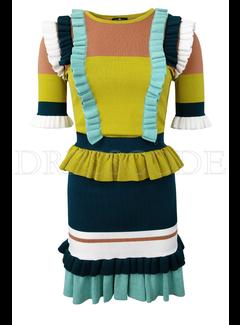 2. ELISABETTA FRANCHI Elisbetta Franchi jurk met overal ruches Groen