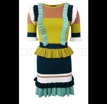 4f102cc54b2ce0 ELISABETTA FRANCHI Elisbetta Franchi jurk met overal ruches Groen
