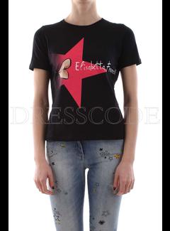 2. ELISABETTA FRANCHI Elisabetta Franchi t-shirt met opdruk en merknaam Zwart
