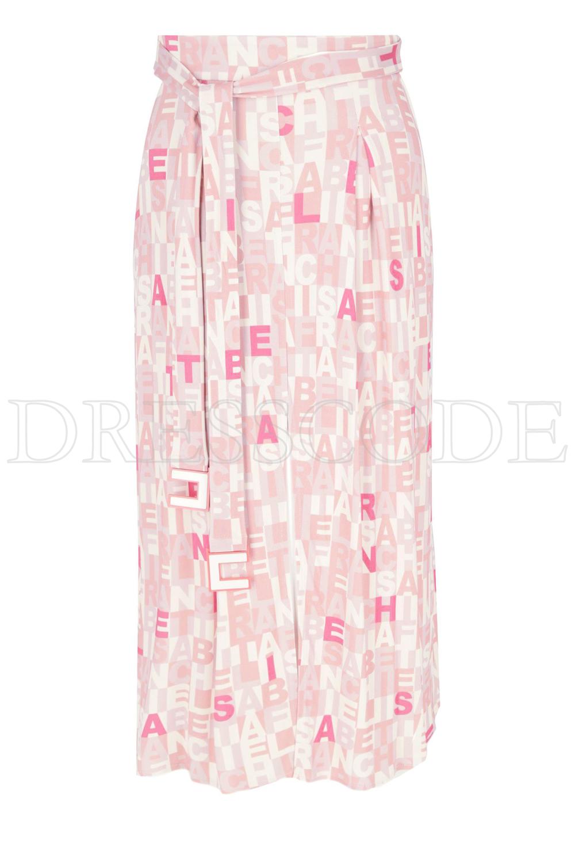 26c6a22d4b8201 Elisabetta Franchi rok midi met logo en ceintuur - Dresscode