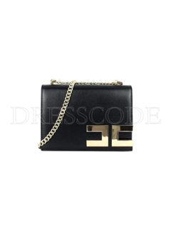 2. ELISABETTA FRANCHI Elisabetta Franchi crossbody tas met gouden logo Zwart