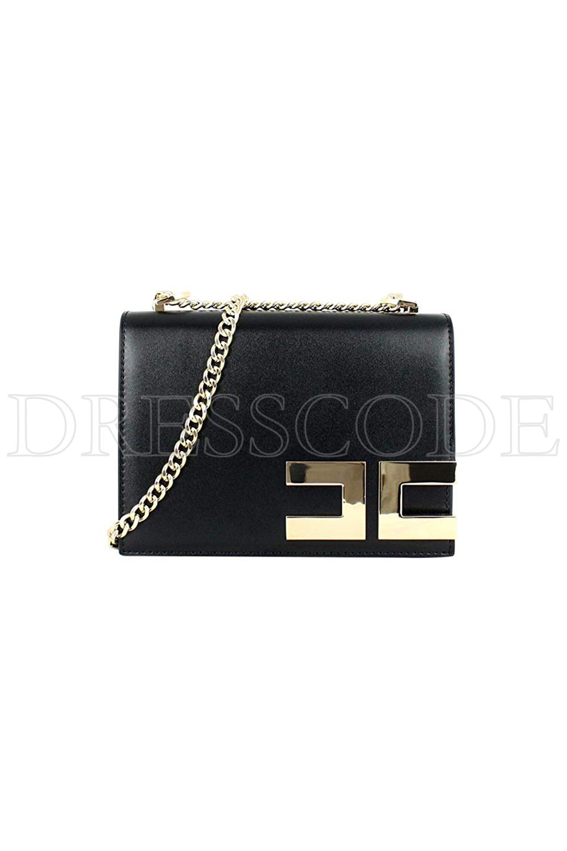e510951358e Elisabetta Franchi crossbody tas met gouden logo Zwart - Dresscode