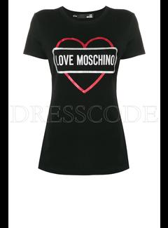 8. MOSCHINO Love Moschino t-shirt met hart en merknaam Zwart
