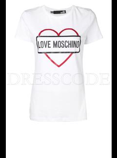 8. MOSCHINO Love Moschino t-shirt met hart en merknaam Wit