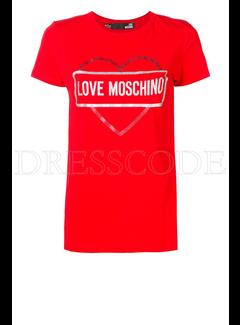 8. MOSCHINO Love Moschino t-shirt met hart en merknaam Rood