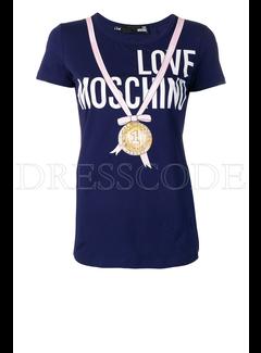 8. MOSCHINO Moschino t-shirt met strik en medaille Blauw