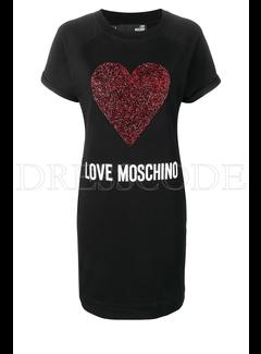 8. MOSCHINO Moschino sweaterjurk met glitterhart Zwart