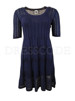 6. MISSONI Missoni gebreide jurk uitlopend model Blauw