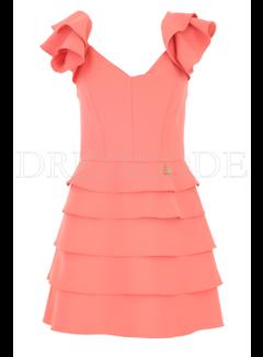 2. ELISABETTA FRANCHI Elisabetta Franchi jurk met v hals en ruche op de schouders Roze
