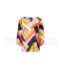 MARC CAIN Marc Cain zijden blouse in grafische print Multi-color
