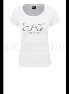 ARMANI EA7 Armani EA7 t-shirt met metallic logo Wit