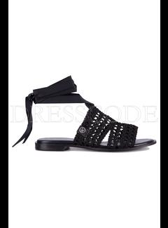LIU JO Liujo platte sandaal met lint om enkel Zwart