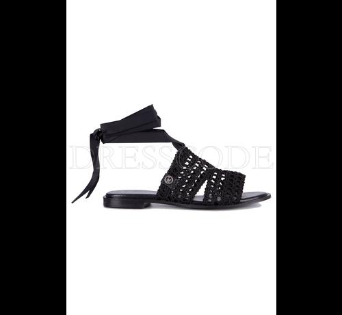 LIU JO Liu Jo zwarte platte sandaal met lint om enkel