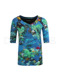 MARC CAIN Marccain t-shirt in Aquarium-print Blauw