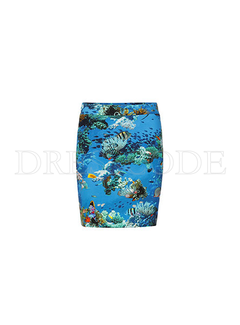 MARC CAIN Marccain rok in aquarium print Blauw