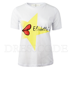 2. ELISABETTA FRANCHI Elisabetta Franchi t-shirt met opdruk en merknaam Wit