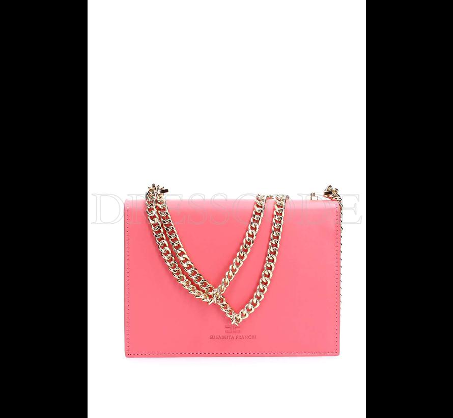 8077e1b649c Elisabetta Franchi roze crossbody tas met gouden logo - Dresscode