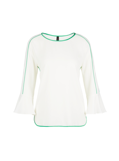 MARC CAIN Marc Cain top met groene rand Wit