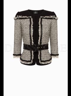 2. ELISABETTA FRANCHI Elisabetta Franchi blazer met riem en tweed Zwart