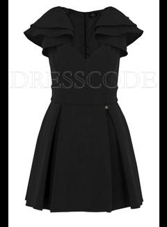 2. ELISABETTA FRANCHI Elisabetta Franchi jurk met ruche op schouder Zwart