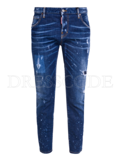 1. DSQUARED2 Dsquared2 destroyed jeans met spetters Blauw