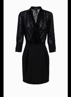 2. ELISABETTA FRANCHI Elisabetta Franchi jurk met logo in velours Zwart