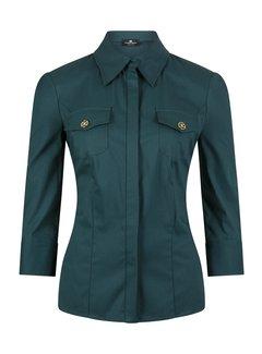 2. ELISABETTA FRANCHI Elisabetta Franchi groene blouse met gouden logo op borstzakken