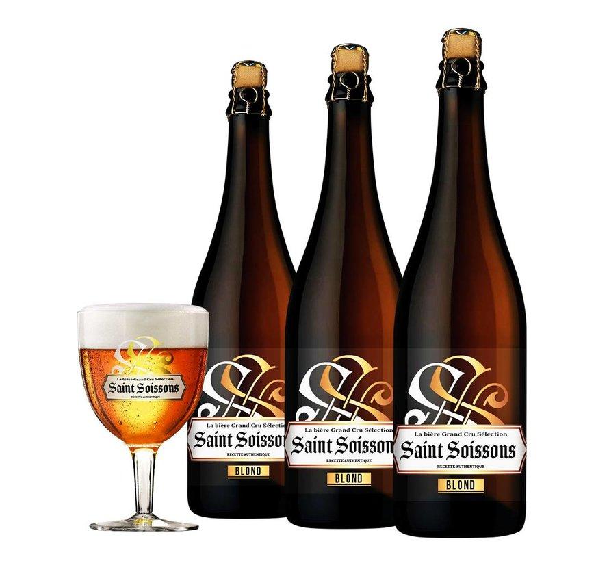 Bierpakket Saint Soissons Blond (3 flessen 75 CL)
