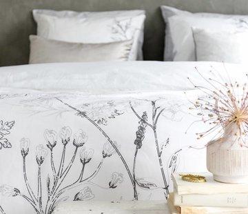 Walra Bed & Badgoed Walra Dekbedovertrek Flower Fields grijs/wit