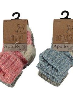 Zisensa, private collection Baby Wool Home Socks 2 paar mt. 23/26 roze & grijs
