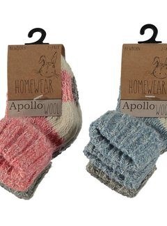 Zisensa, private collection Unieke woonaccessoires Baby Wool Home Socks 2 paar mt. 23/26 roze & grijs