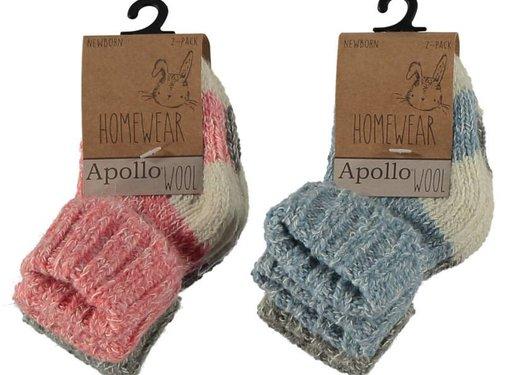 Zisensa, private collection Unieke woonaccessoires Baby Wool Home Socks 2 paar mt. 23/26 roze & grijs