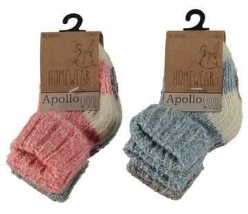Zisensa, private collection Unieke woonaccessoires Copy of Baby Wool Home Socks 2 paar mt. 23/26 roze & grijs