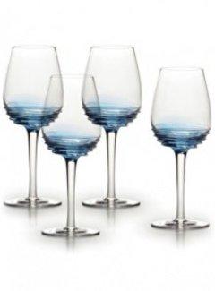 Mikasa Serviezen Witte wijn glazen Swirl blue set/4