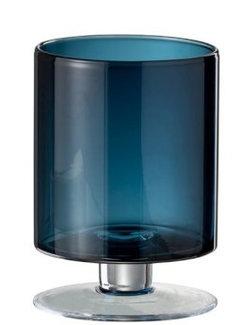 J-Line Vaas / windlicht op voet cylinder blauw H. 15 cm.