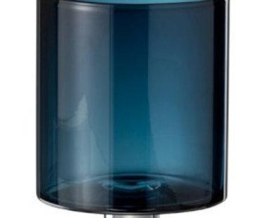 J-Line Copy of Vaas / windlicht op voet blauw H. 15 cm.