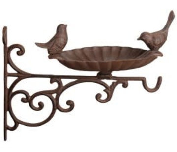 Esschert design Voederschaal gietijzer op muurhaak & 2 vogels