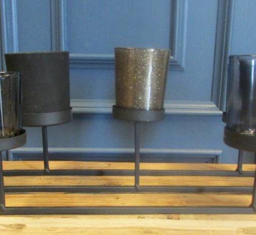Zisensa, private collection Unieke woonaccessoires Metalen Theelichthouder met 7 glazen