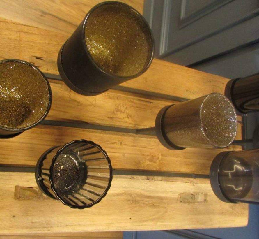 Metalen Theelichthouder met 7 glazen