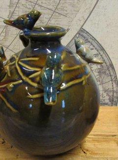 Zisensa, private collection Unieke woonaccessoires Vaasje met vogel blauw