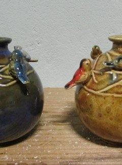 Zisensa, private collection Unieke woonaccessoires Copy of Vaasje met vogel blauw