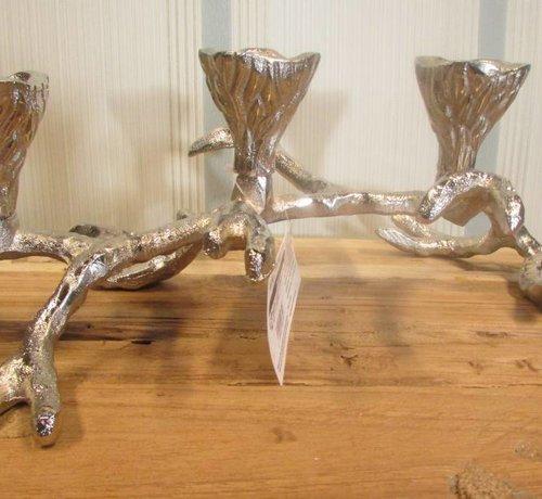 Zisensa, private collection Unieke woonaccessoires Copy of Kaarsenhouder takvorm zilver, 2 kaarsen