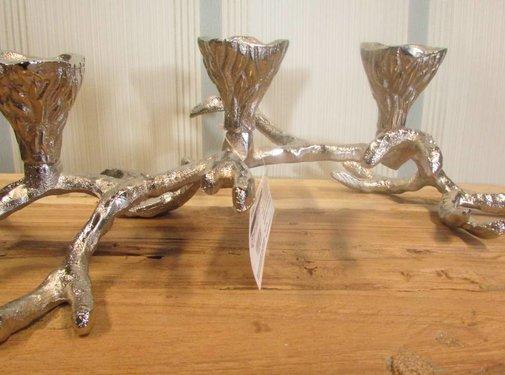Zisensa, private collection Unieke woonaccessoires Kandelaar takvorm zilver, 3 kaarsen